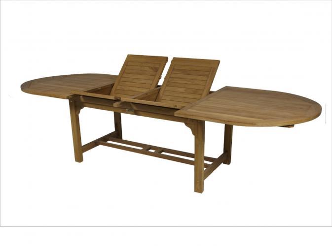 mesa ovalada de teca extensible