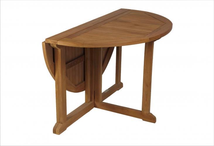 mesa de teca redonda de 120 cm con alas plegable - Mesa Redonda Madera